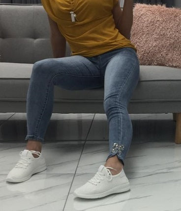 White Lace Up Casual Trainers