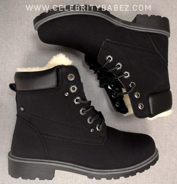 Waxed Leather Fur Lined Worker Boot In Black