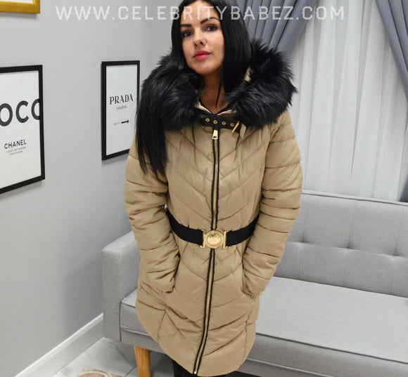 Long Puffer Jacket With Faux Fur Hood And Belt In Beige