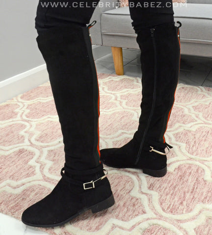 Suedette Knee High Boots In Black