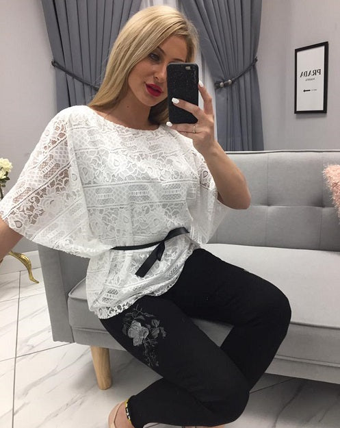 White Lace Batwing Top