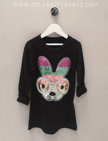 Sequin Bunny Top In Black