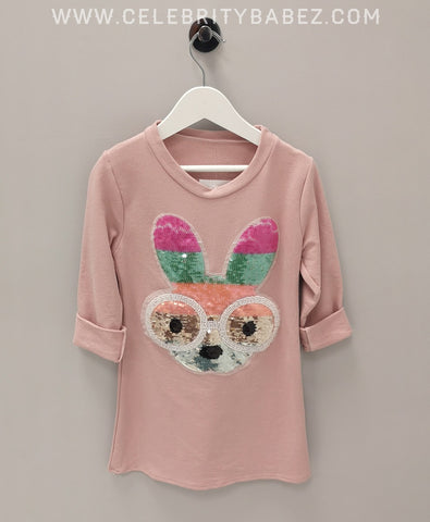 Sequin Bunny Top In Pink