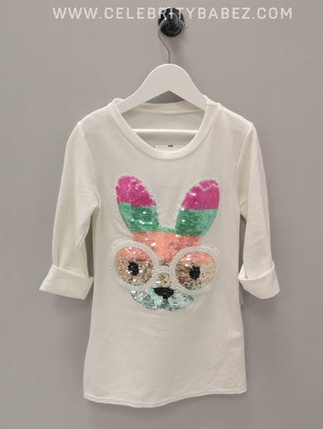 Sequin Bunny Top In White