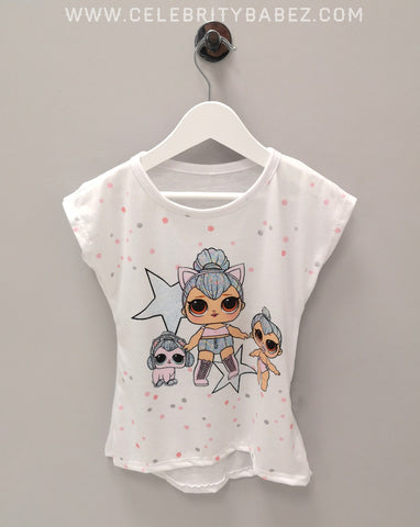 Cartoon Star Top In White