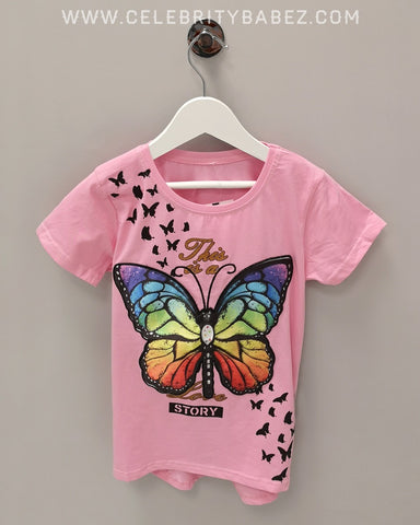 LED Butterfly Top In Pink