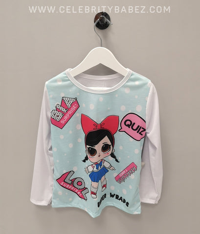 Cartoon Quiz LOL Long Sleeve Top In Aqua