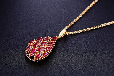 Cinebling Birthstone Blog July Ruby Teardrop Pendant