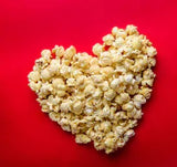 Cinebling Loves Popcorn Heart on Red Background