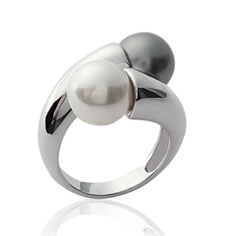 Black'n'White Pearl Ring - Fifi Ange