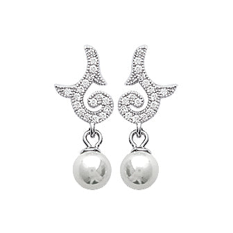 Silver Quaver Pearl Earrings - Fifi Ange