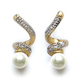 Twisted Gold Pearl Earrings - Fifi Ange