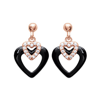 Black Heart Earrings - Fifi Ange