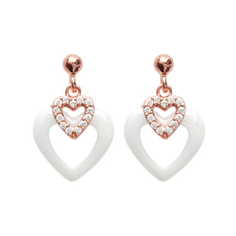 White Heart Earrings - Fifi Ange