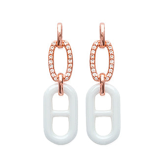 White Ceramic Link Earrings - Fifi Ange