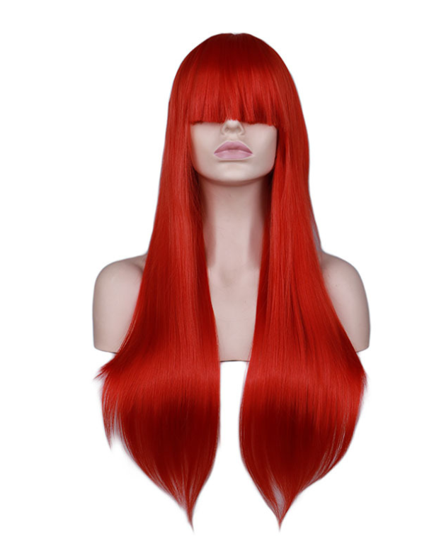 Long Straight Bangs High Temperature Silk Wig