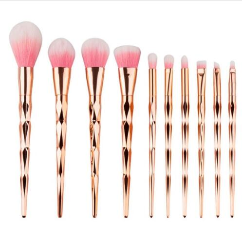Mermaid Diamond Rose Gold Makeup Brushes Set