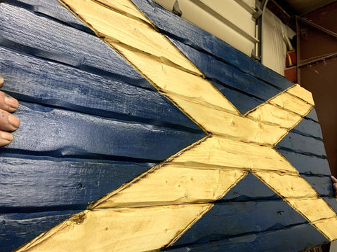 Scottish Handcarved Wooden Flag