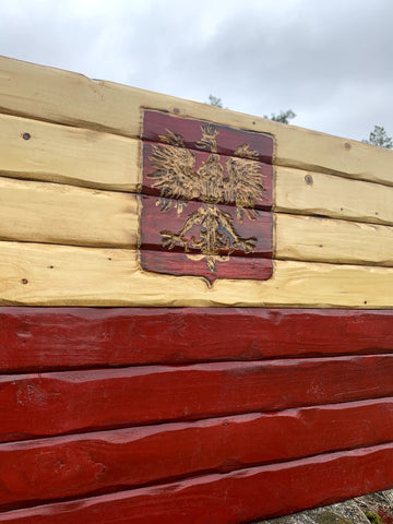 Polish Handcarved Wooden Flag