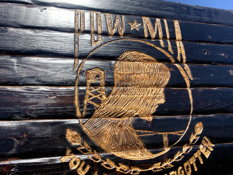 Image of POW MIA Handcarved Wooden Flag