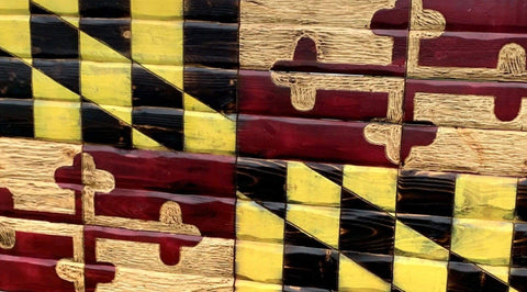 Maryland Handcarved Wooden Flag