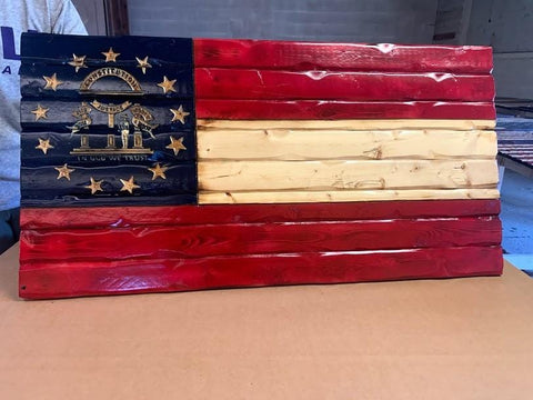 Georgia Handcarved Wooden Flag