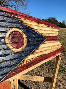 Ohio Handcarved Wooden Flag