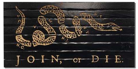 handcrafted wooden join or die flag