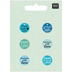 Rico Design Knopfmix mit Schrift blau made with love 15mm 5,50€