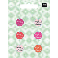Rico Design Knopfmix mit Schrift  rosa made with love 15mm 5,50€