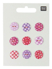 Knopfmix Vichy/Punkte pink 14mm 5,50€