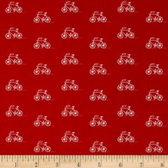 Baumwollstoff London Calling Small Bicycles auf rot Voile 22.-/m