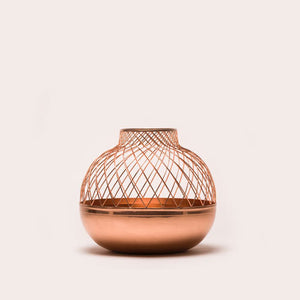 Copper Round Grid Vase