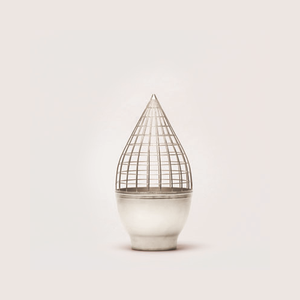 Black Silver Conic Grid Vase