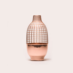 Copper Cylindrical Grid Vase