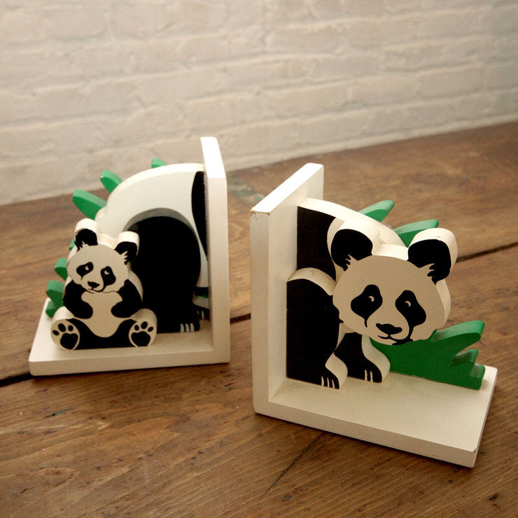 1980s Panda Bookends