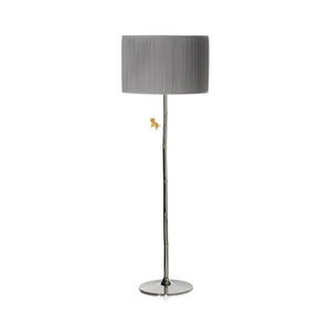 Bamboo Lamp Gray and Chrome