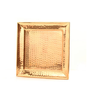 Square Hammered Copper Tray Sm