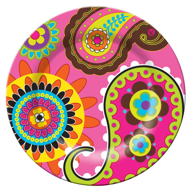 11\ Plate Pink Paisley""