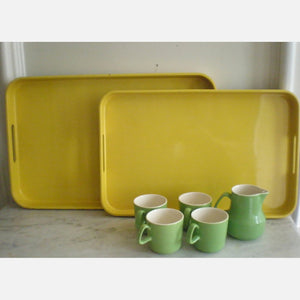 Lacquer Trays Yellow Set Of 2