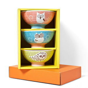 Owl Rice Bowl Set of 3