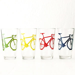 Bike Pint Glasses Bright 4PK