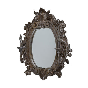 Damask Mirror W Electric Sconces