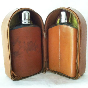 Liquor Flasks In Leather 1