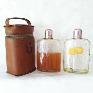 Liquor Flasks In Leather S/2