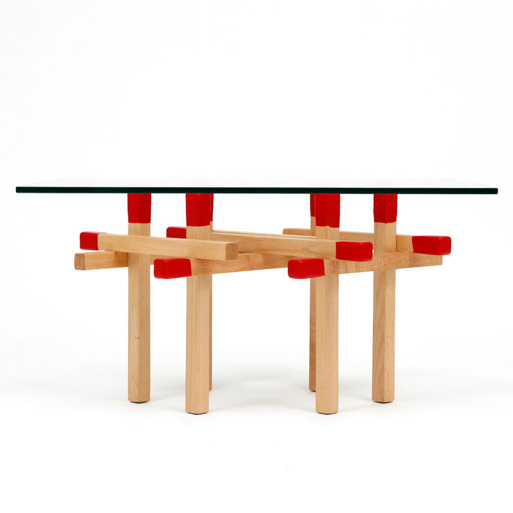 Double Matchstick Table Red