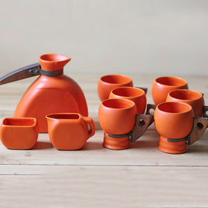 Mid-Century Stone Tea Set Orange