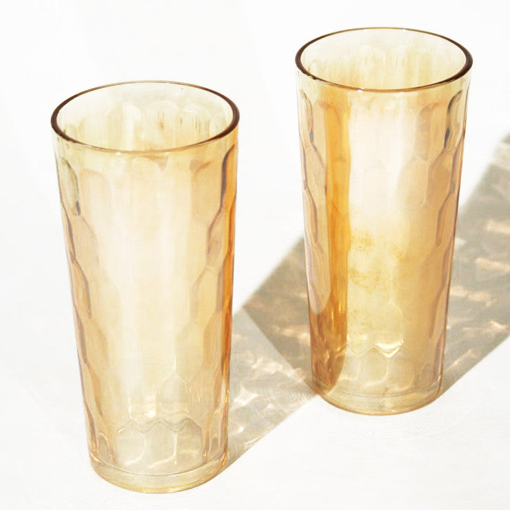 Honeycomb Iced Tea Glasses Pair