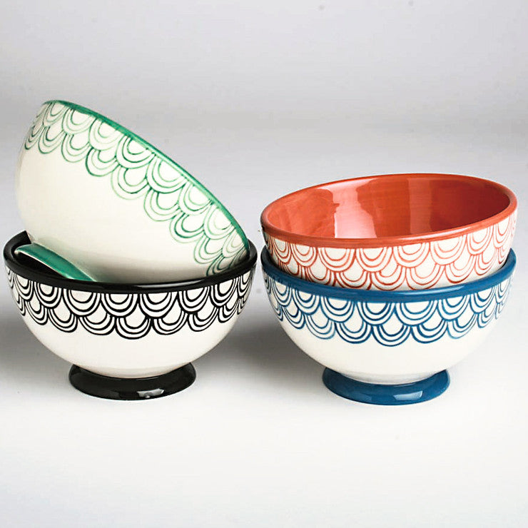 Waves Footed Bowl 4 Pack