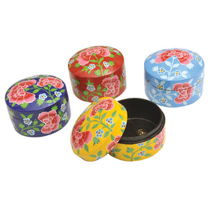 Hand-Painted Round Boxes 4 Pack